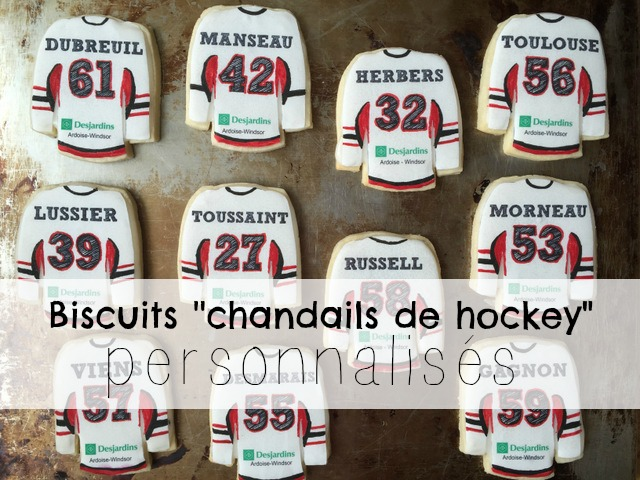 """Des biscuits """"chandail de hockey"""" personnalisés"""