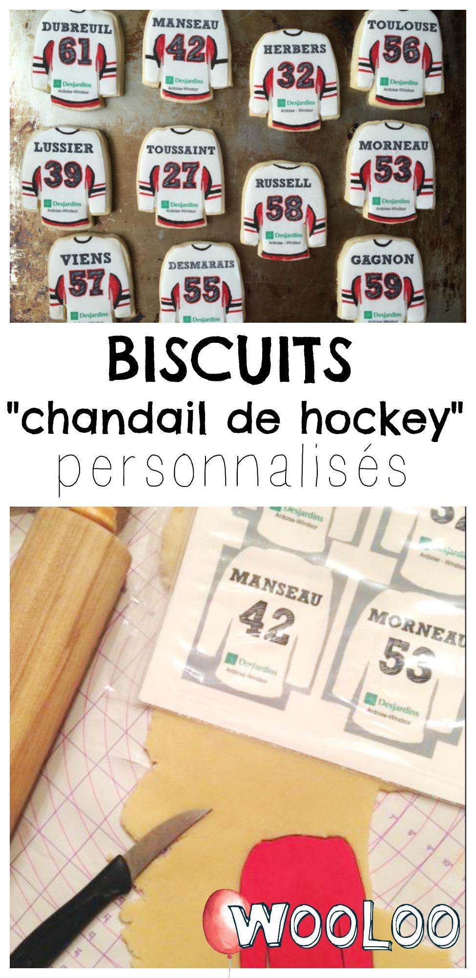 "biscuits ""chandail de hockey"" personnalisés wooloo"