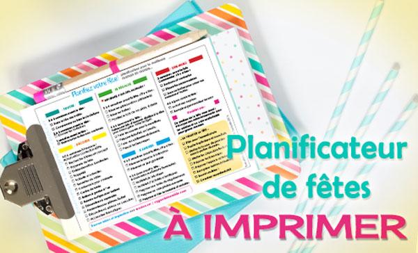 Planificateur de fête à imprimer