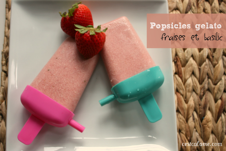 Popsicles gelato aux fraises et basilic