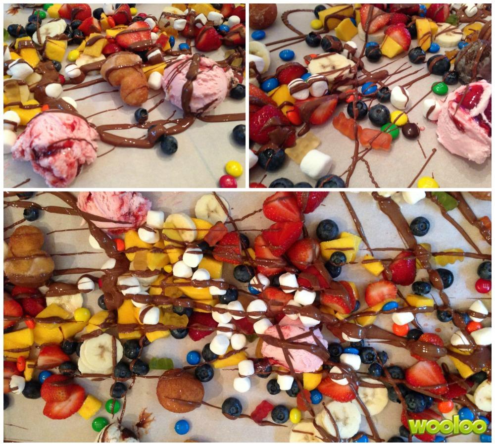 fondue sur table fruits et bonbons wooloo