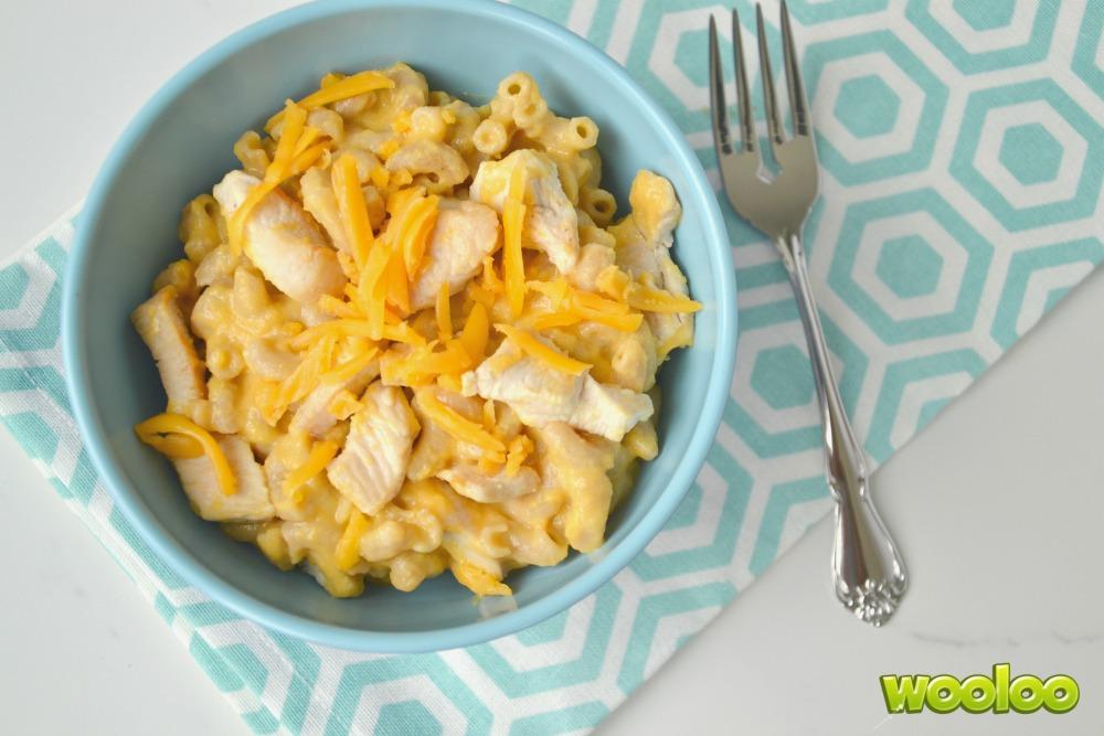 Macaroni au fromage, au poulet et à la courge butternut