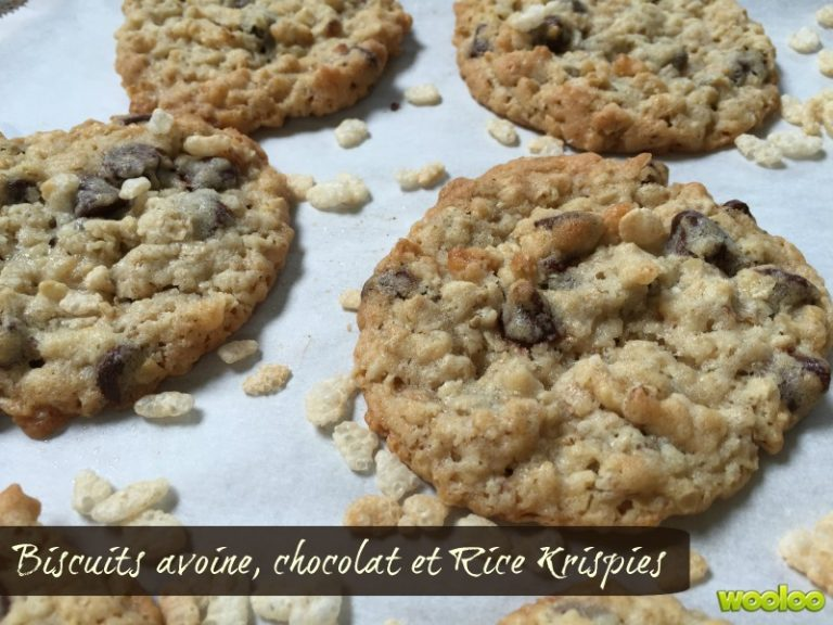 Biscuits avoine, chocolat et Rice Krispies