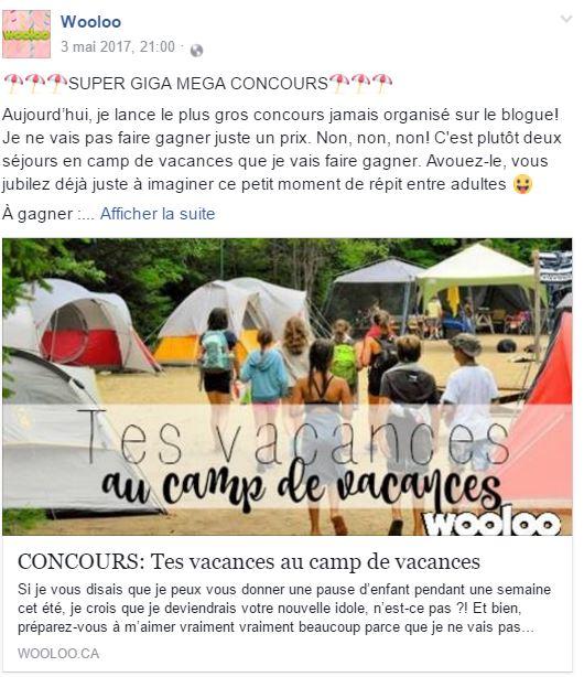 concours camp de vacances wooloo