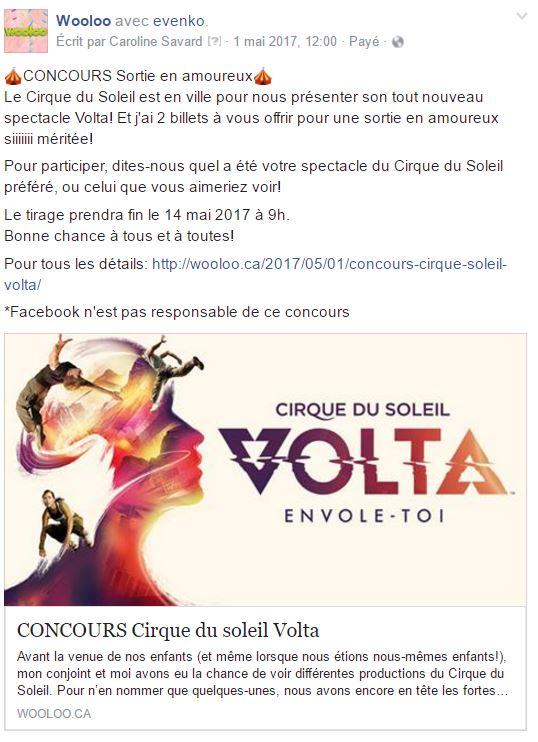 CONCOURS Cirque du soleil Volta wooloo