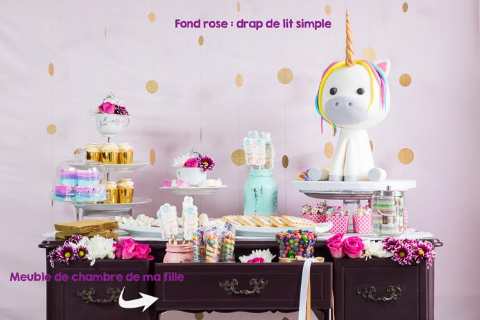 Gâteau licorne sur une table de desserts thématique