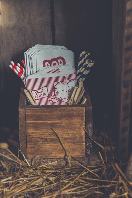 Sacs à popcorn et à peanuts au look vintage pour une thématique cirque ou Dumbo.