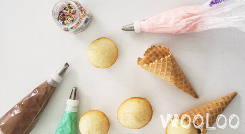 gâteau-cupcakes-forme-de-cornet-wooloo